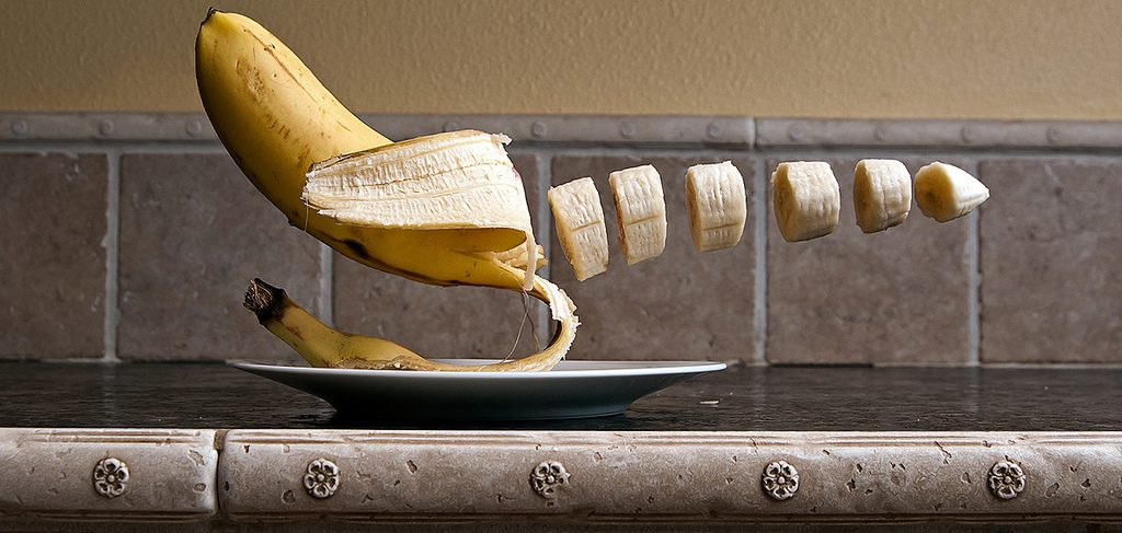 Creating illusion of sliced banana still life food photography